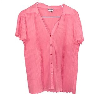 FINAL SALE - Nicole Pink Crinkle Styled Blouse
